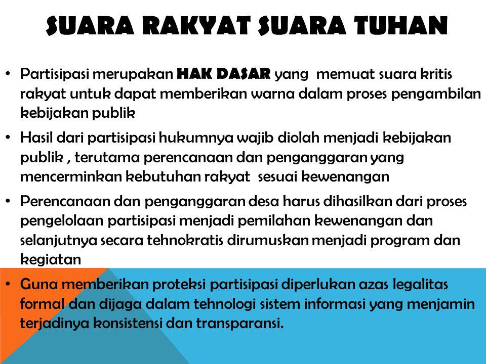 SUARA RAKYAT SUARA TUHAN Partisipasi merupakan HAK DASAR yang memuat suara kritis rakyat untuk dapat memberikan warna dalam proses pengambilan kebijak