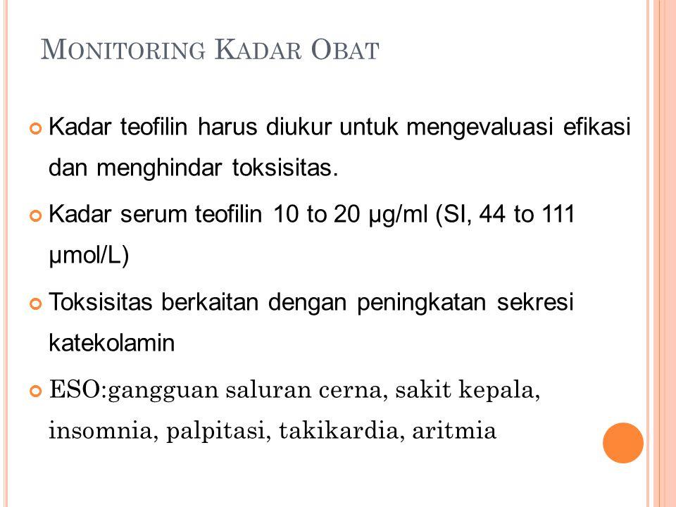 M ONITORING K ADAR O BAT Kadar teofilin harus diukur untuk mengevaluasi efikasi dan menghindar toksisitas.