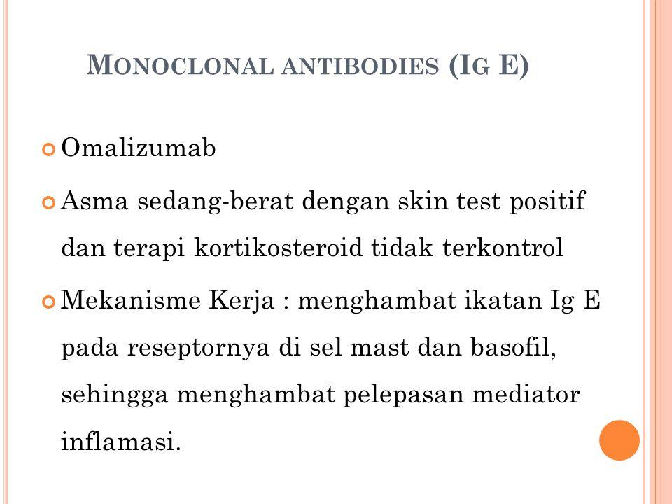M ONOCLONAL ANTIBODIES (I G E) Omalizumab Asma sedang-berat dengan skin test positif dan terapi kortikosteroid tidak terkontrol Mekanisme Kerja : menghambat ikatan Ig E pada reseptornya di sel mast dan basofil, sehingga menghambat pelepasan mediator inflamasi.