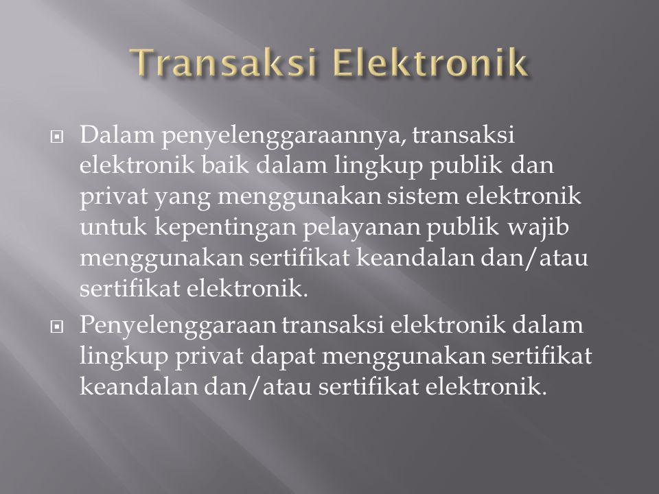  Dalam penyelenggaraannya, transaksi elektronik baik dalam lingkup publik dan privat yang menggunakan sistem elektronik untuk kepentingan pelayanan p