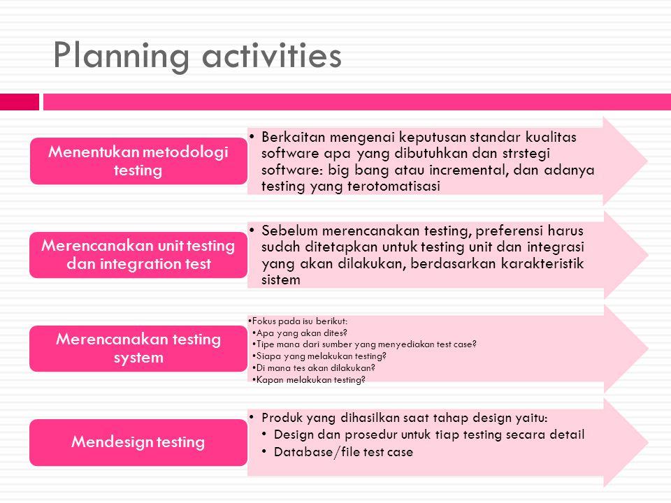 Planning activities Berkaitan mengenai keputusan standar kualitas software apa yang dibutuhkan dan strstegi software: big bang atau incremental, dan a