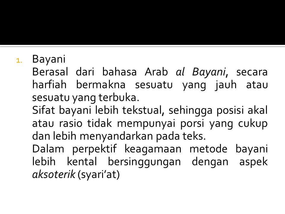 1. Bayani Berasal dari bahasa Arab al Bayani, secara harfiah bermakna sesuatu yang jauh atau sesuatu yang terbuka. Sifat bayani lebih tekstual, sehing