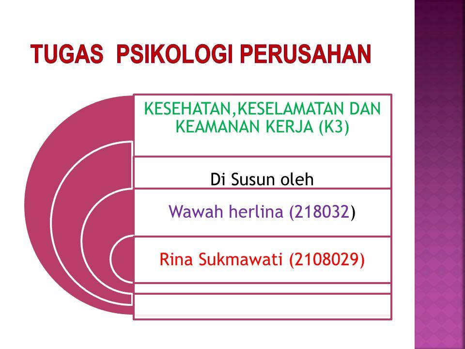 KESEHATAN,KESELAMATAN DAN KEAMANAN KERJA (K3) Di Susun oleh Wawah herlina (218032) Rina Sukmawati (2108029)