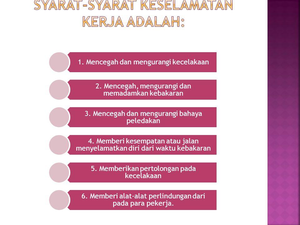 1.Mencegah dan mengurangi kecelakaan 2. Mencegah, mengurangi dan memadamkan kebakaran 3.