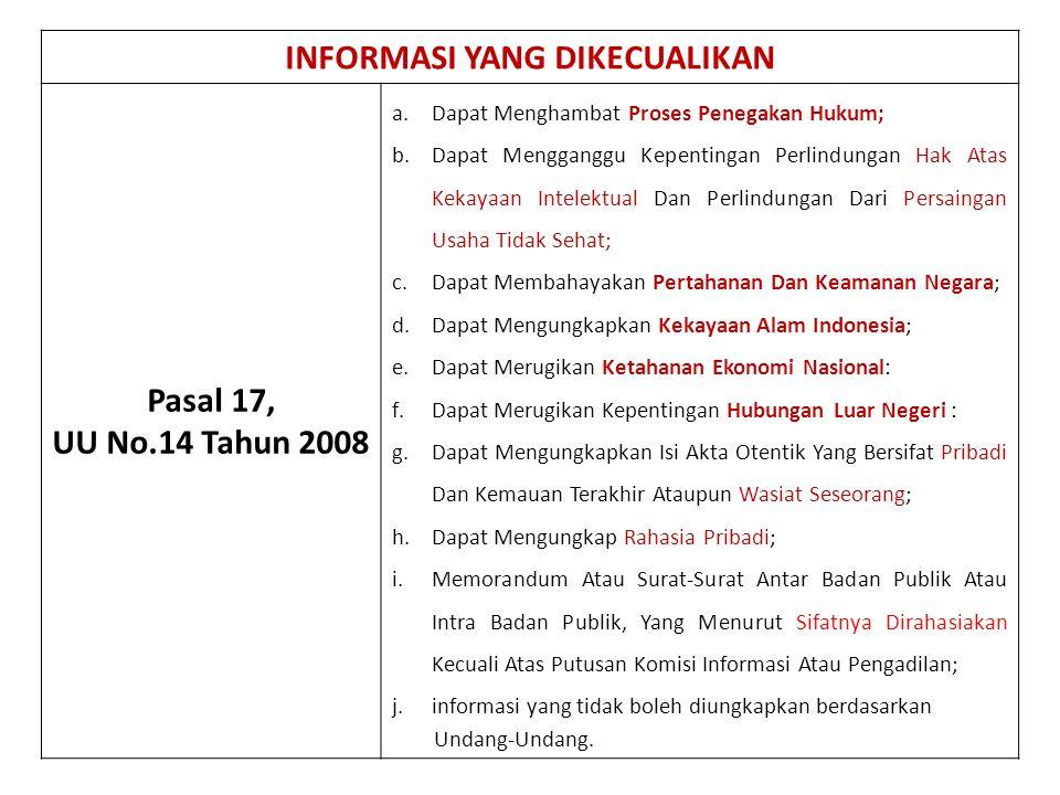 INFORMASI YANG DIKECUALIKAN Pasal 17, UU No.14 Tahun 2008 a.Dapat Menghambat Proses Penegakan Hukum; b.Dapat Mengganggu Kepentingan Perlindungan Hak A