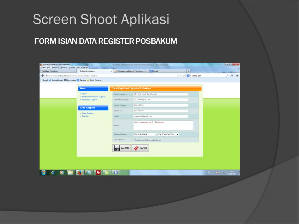 FORM ISIAN DATA REGISTER POSBAKUM Screen Shoot Aplikasi