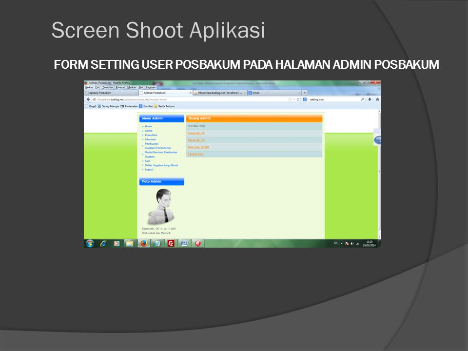 FORM SETTING USER POSBAKUM PADA HALAMAN ADMIN POSBAKUM Screen Shoot Aplikasi