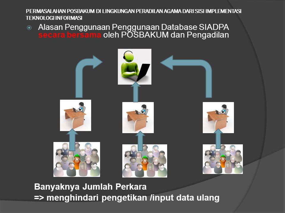 PERMASALAHAN POSBAKUM DI LINGKUNGAN PERADILAN AGAMA DARI SISI IMPLEMENTASI TEKNOLOGI INFORMASI  Alasan Penggunaan Penggunaan Database SIADPA secara bersama oleh POSBAKUM dan Pengadilan Banyaknya Jumlah Perkara => menghindari pengetikan /input data ulang