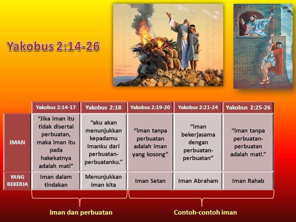 """Yakobus 2:14-17 Yakobus 2:18 Yakobus 2:19-20Yakobus 2:21-24 Yakobus 2:25-26 IMAN """"Jika iman itu tidak disertai perbuatan, maka iman itu pada hakekatny"""