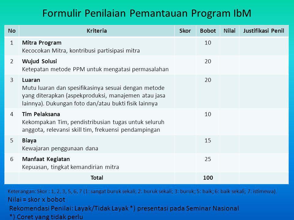 Formulir Penilaian Pemantauan Program IbM NoKriteriaSkorBobotNilaiJustifikasi Penil 1Mitra Program Kecocokan Mitra, kontribusi partisipasi mitra 10 2W