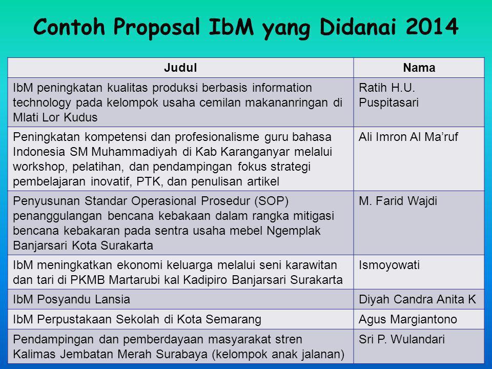Contoh Proposal IbM yang Didanai 2014 JudulNama IbM peningkatan kualitas produksi berbasis information technology pada kelompok usaha cemilan makananr