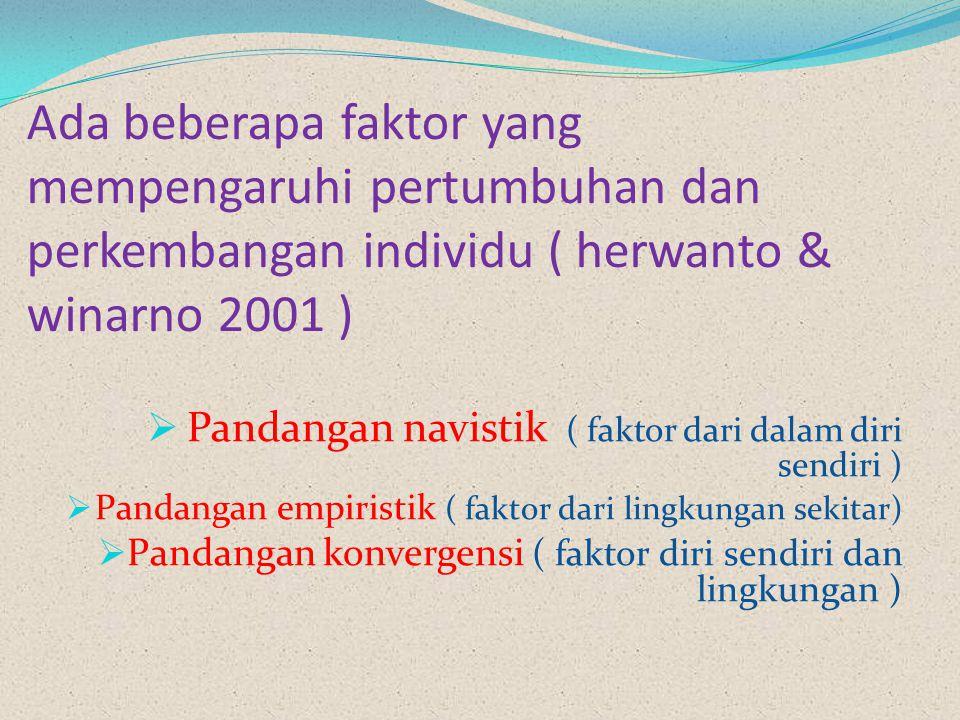 Ada beberapa faktor yang mempengaruhi pertumbuhan dan perkembangan individu ( herwanto & winarno 2001 )  Pandangan navistik ( faktor dari dalam diri sendiri )  Pandangan empiristik ( faktor dari lingkungan sekitar)  Pandangan konvergensi ( faktor diri sendiri dan lingkungan )