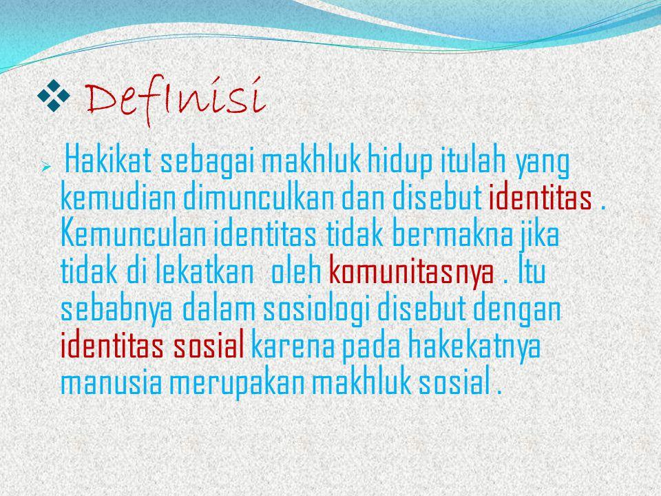  DefInisi  Hakikat sebagai makhluk hidup itulah yang kemudian dimunculkan dan disebut identitas.