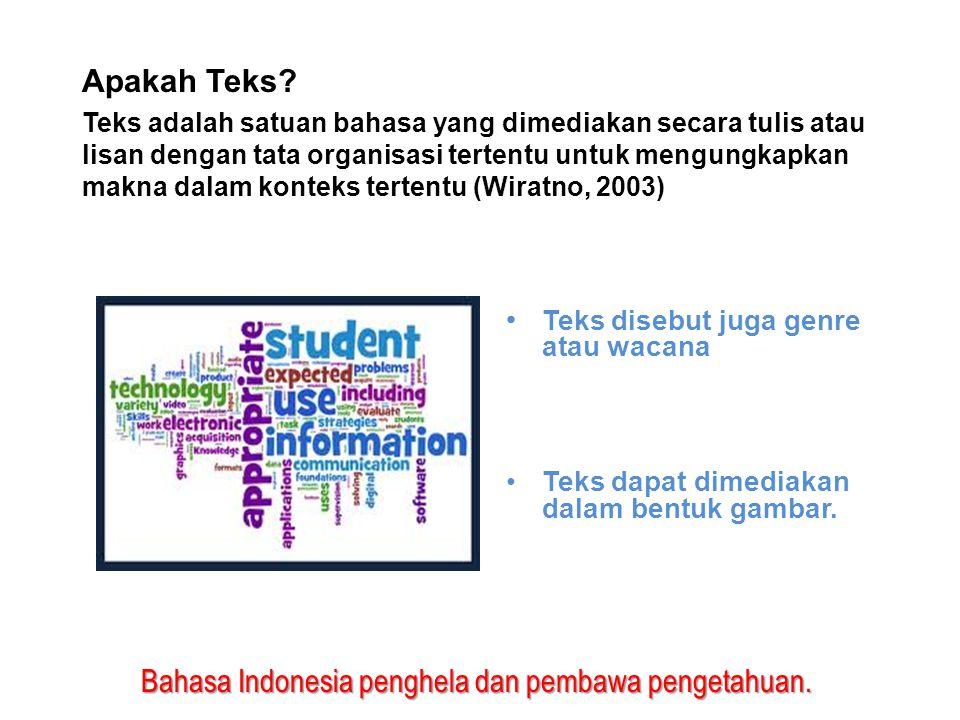 Bahasa Indonesia penghela dan pembawa pengetahuan. Teks disebut juga genre atau wacana Teks dapat dimediakan dalam bentuk gambar. Apakah Teks? Teks ad