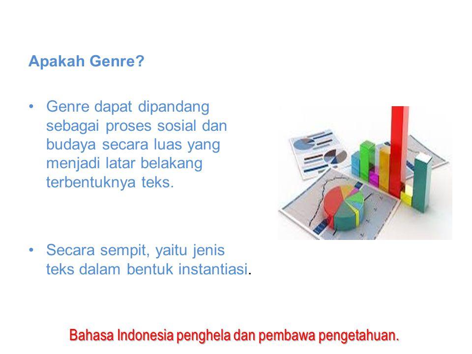 Bahasa Indonesia penghela dan pembawa pengetahuan. Apakah Genre? Genre dapat dipandang sebagai proses sosial dan budaya secara luas yang menjadi latar