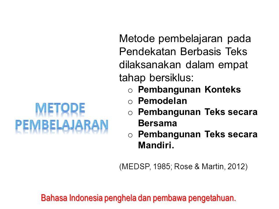 Bahasa Indonesia penghela dan pembawa pengetahuan. Metode pembelajaran pada Pendekatan Berbasis Teks dilaksanakan dalam empat tahap bersiklus: o Pemba