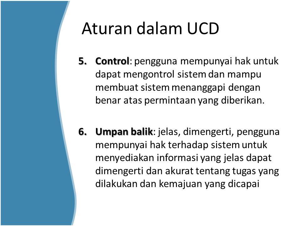 Aturan dalam UCD 5.Control 5.Control: pengguna mempunyai hak untuk dapat mengontrol sistem dan mampu membuat sistem menanggapi dengan benar atas permi