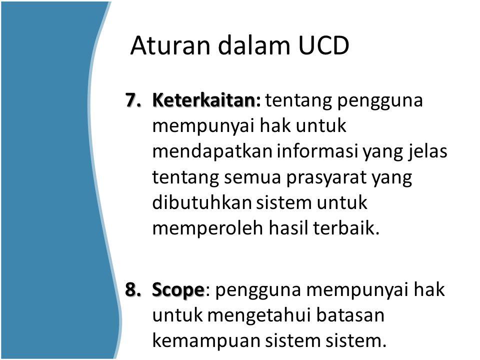 Aturan dalam UCD 7.Keterkaitan 7.Keterkaitan: tentang pengguna mempunyai hak untuk mendapatkan informasi yang jelas tentang semua prasyarat yang dibut