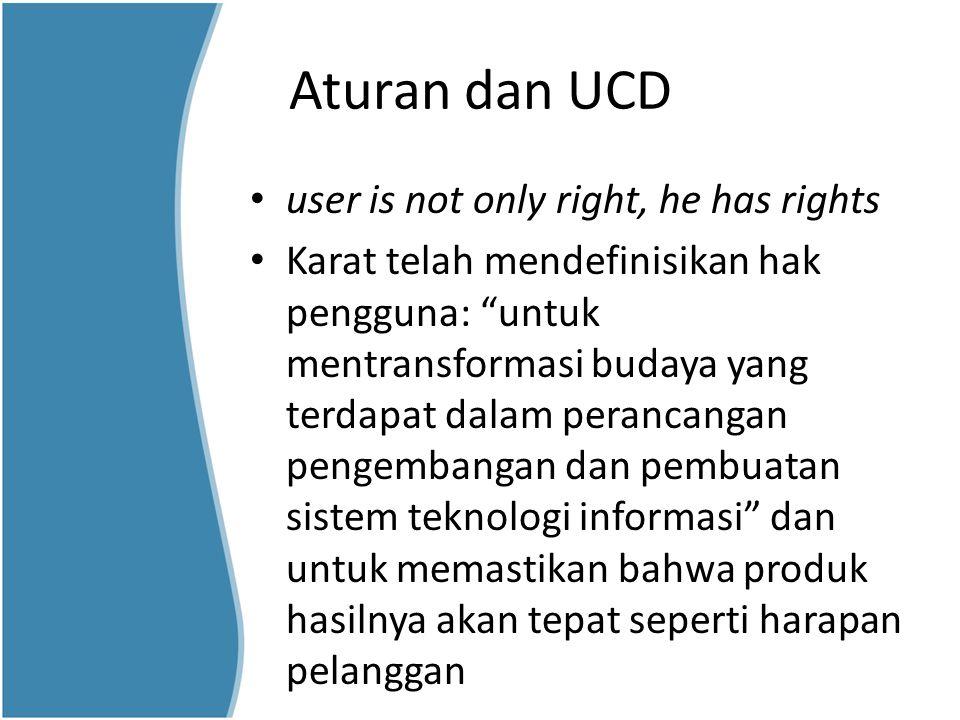 """Aturan dan UCD user is not only right, he has rights Karat telah mendefinisikan hak pengguna: """"untuk mentransformasi budaya yang terdapat dalam peranc"""