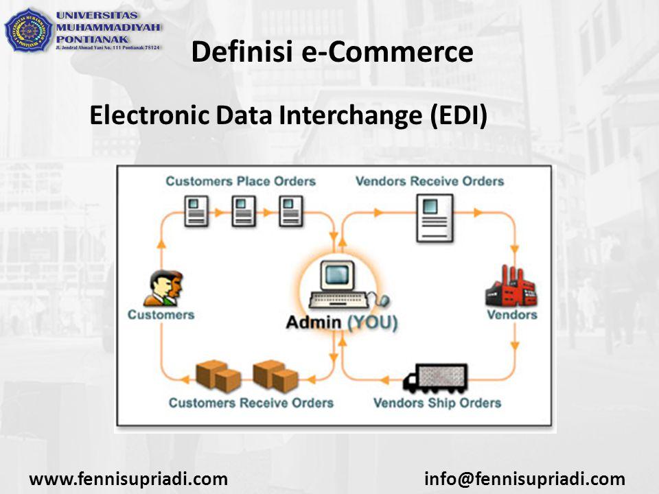 Definisi e-Commerce Media Elektronik yang dibahas dalam materi akan lebih difokuskan dalam hal penggunaan media internet sebagai jaringan publik yang besar dan dapat diakses dengan murah, mudah serta cepat.