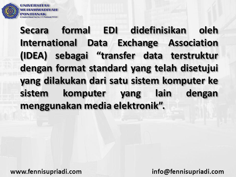 """Secara formal EDI didefinisikan oleh International Data Exchange Association (IDEA) sebagai """"transfer data terstruktur dengan format standard yang tel"""