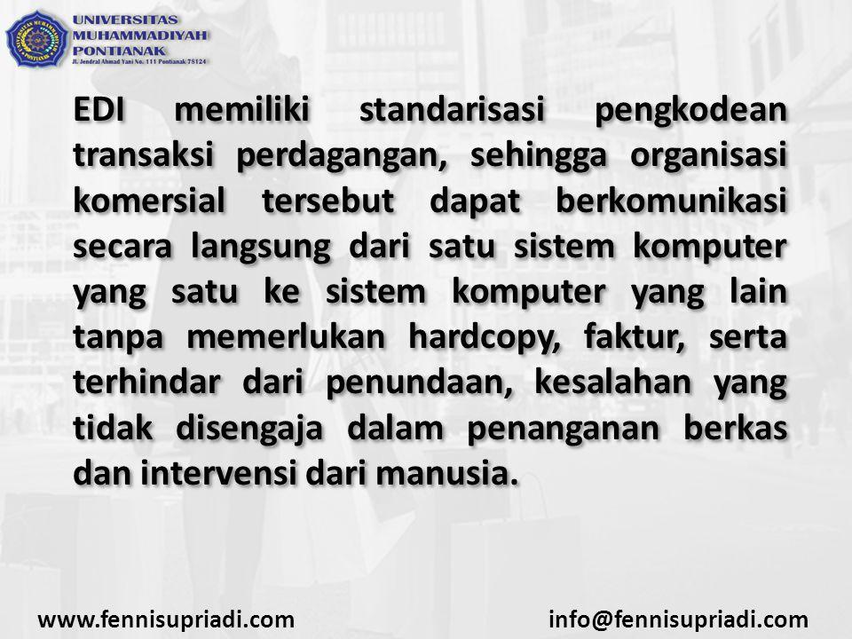 EDI memiliki standarisasi pengkodean transaksi perdagangan, sehingga organisasi komersial tersebut dapat berkomunikasi secara langsung dari satu siste