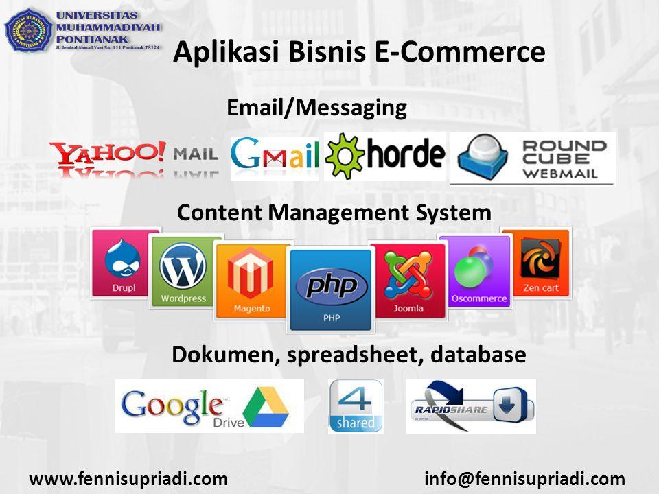 www.fennisupriadi.cominfo@fennisupriadi.com Aplikasi Bisnis E-Commerce Akunting dan sistem keuangan Informasi pengiriman dan pemesanan Pelaporan informasi dari klien dan enterprise