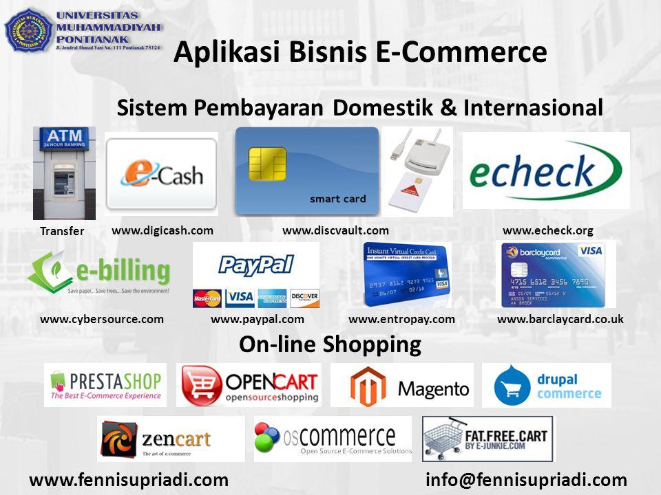 www.fennisupriadi.cominfo@fennisupriadi.com Aplikasi Bisnis E-Commerce Sistem Pembayaran Domestik & Internasional On-line Shopping www.digicash.comwww