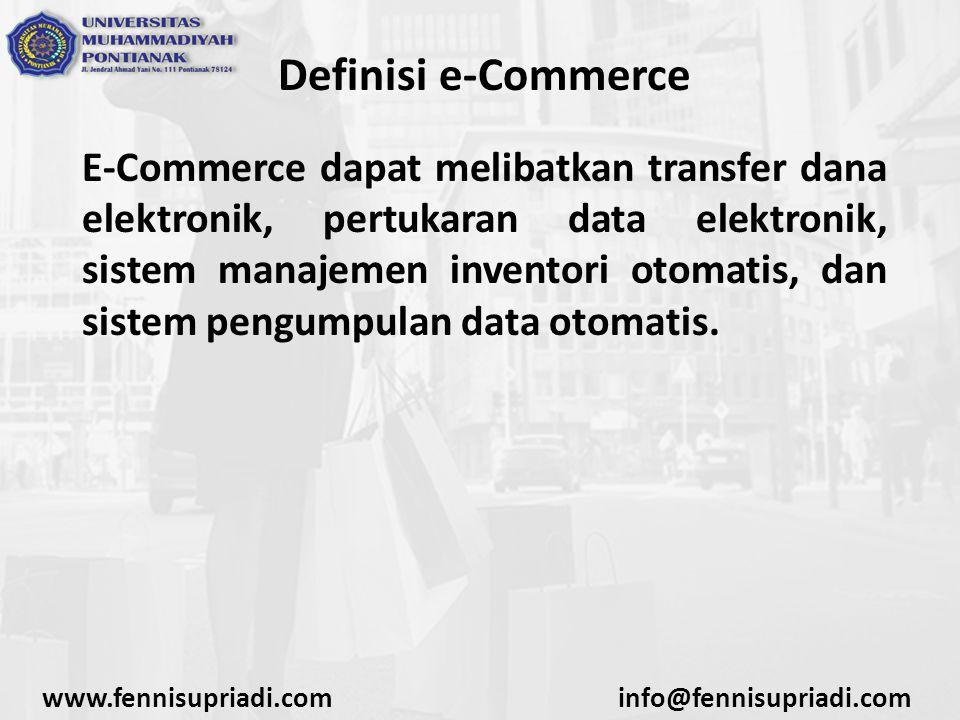 Definisi e-Commerce Industri teknologi informasi melihat kegiatan e-commerce ini sebagai aplikasi dan penerapan dari e-bisnis (e-business) yang berkaitan dengan transaksi komersial, seperti: transfer dana secara elektronik, SCM (supply chain management), pemrosesan transaksi online (online transaction processing), pertukaran data elektronik (electronic data interchange /EDI), dll.