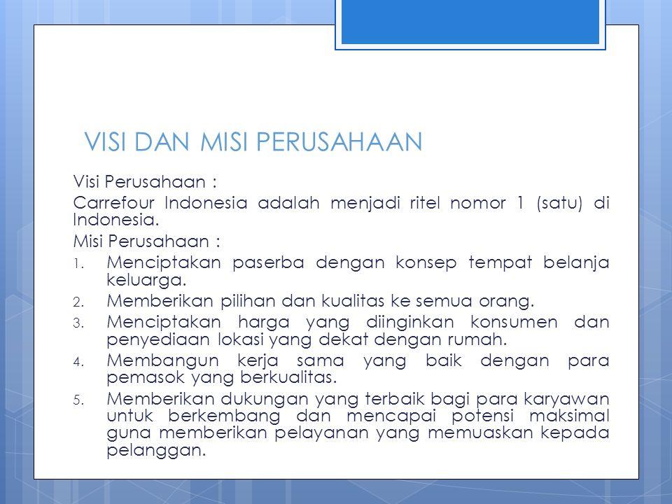 VISI DAN MISI PERUSAHAAN Visi Perusahaan : Carrefour Indonesia adalah menjadi ritel nomor 1 (satu) di Indonesia. Misi Perusahaan : 1. Menciptakan pase