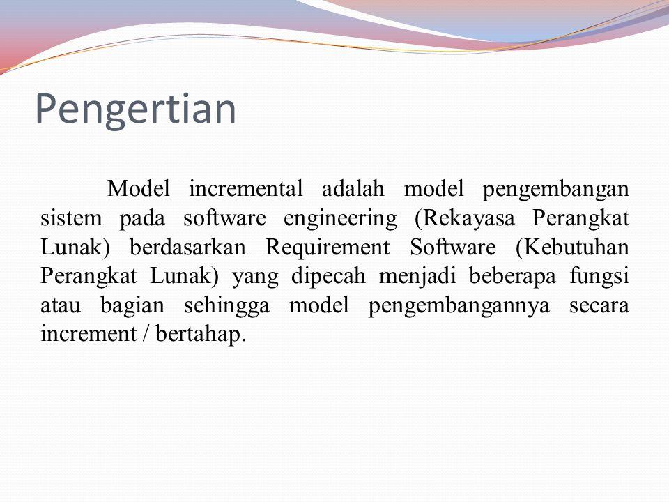 Pengertian Model incremental adalah model pengembangan sistem pada software engineering (Rekayasa Perangkat Lunak) berdasarkan Requirement Software (Kebutuhan Perangkat Lunak) yang dipecah menjadi beberapa fungsi atau bagian sehingga model pengembangannya secara increment / bertahap.