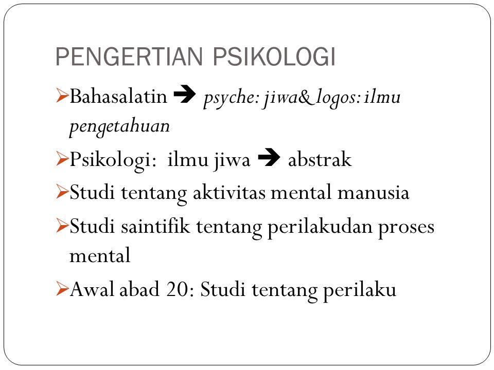 PENGERTIAN PSIKOLOGI  Bahasalatin  psyche: jiwa& logos: ilmu pengetahuan  Psikologi: ilmu jiwa  abstrak  Studi tentang aktivitas mental manusia 