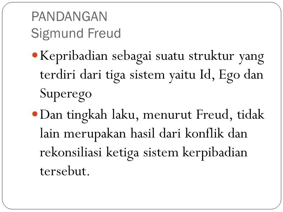 PANDANGAN Sigmund Freud Kepribadian sebagai suatu struktur yang terdiri dari tiga sistem yaitu Id, Ego dan Superego Dan tingkah laku, menurut Freud, t