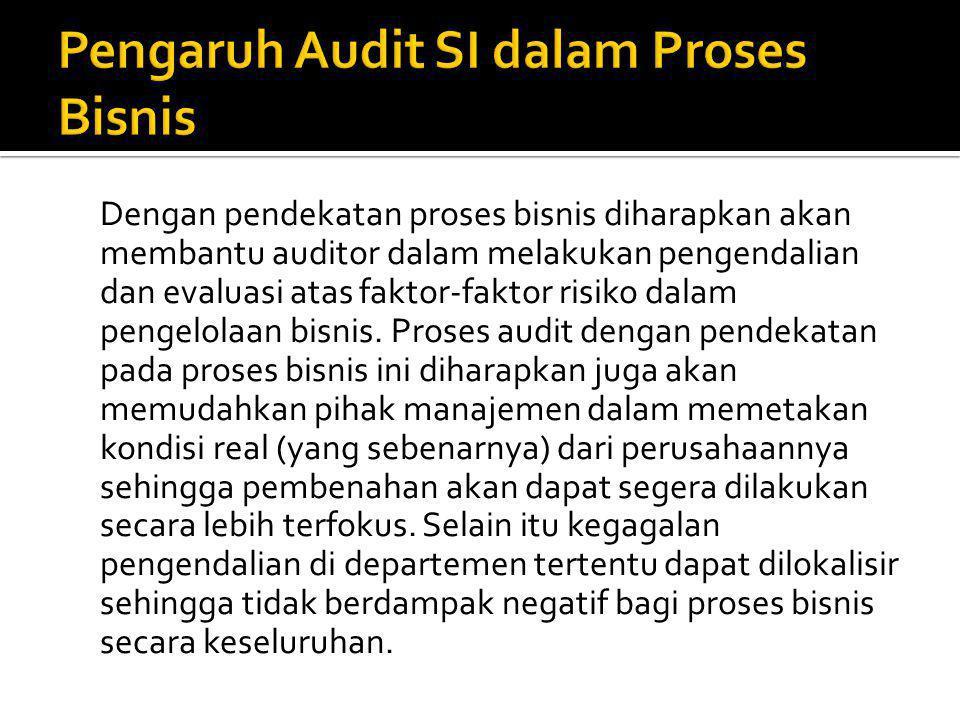 Dengan pendekatan proses bisnis diharapkan akan membantu auditor dalam melakukan pengendalian dan evaluasi atas faktor-faktor risiko dalam pengelolaan