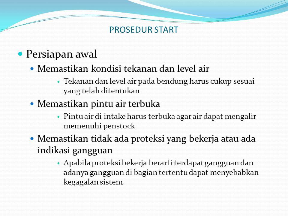PROSEDUR START Persiapan awal Memastikan kondisi tekanan dan level air Tekanan dan level air pada bendung harus cukup sesuai yang telah ditentukan Mem