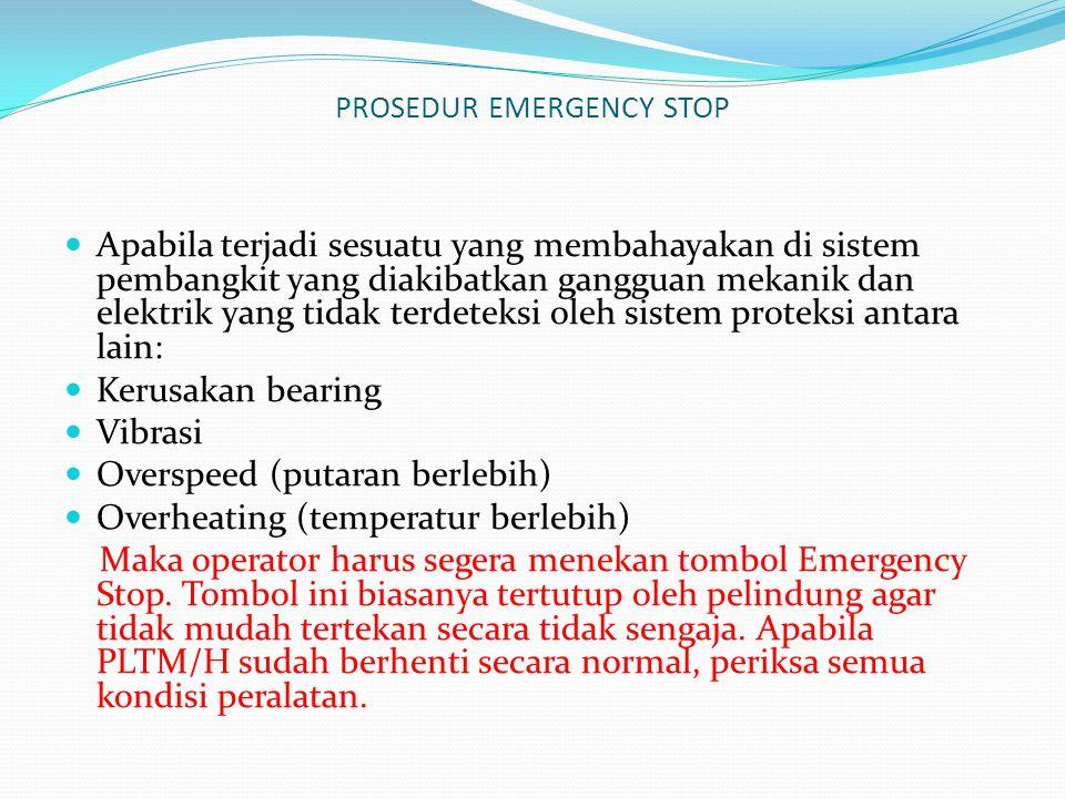 PROSEDUR EMERGENCY STOP Apabila terjadi sesuatu yang membahayakan di sistem pembangkit yang diakibatkan gangguan mekanik dan elektrik yang tidak terde