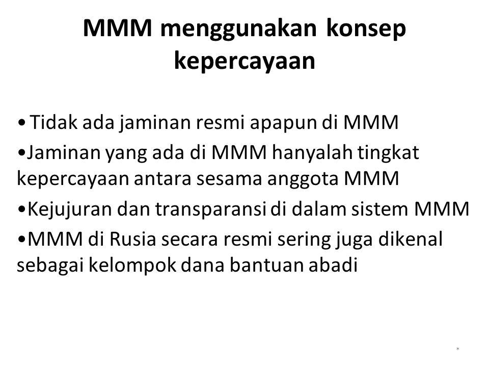 MMM menggunakan konsep kepercayaan Tidak ada jaminan resmi apapun di MMM Jaminan yang ada di MMM hanyalah tingkat kepercayaan antara sesama anggota MMM Kejujuran dan transparansi di dalam sistem MMM MMM di Rusia secara resmi sering juga dikenal sebagai kelompok dana bantuan abadi *