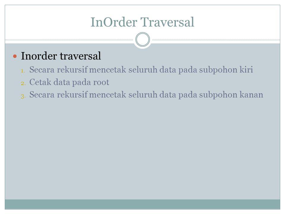 InOrder Traversal Inorder traversal 1. Secara rekursif mencetak seluruh data pada subpohon kiri 2. Cetak data pada root 3. Secara rekursif mencetak se