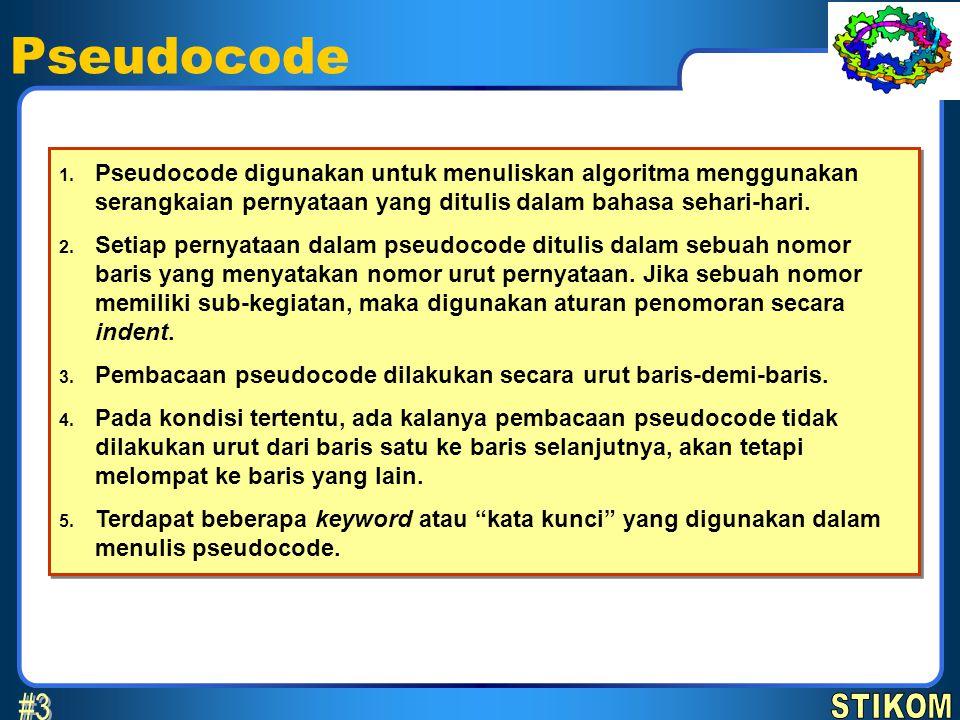 Pseudocode 1. Pseudocode digunakan untuk menuliskan algoritma menggunakan serangkaian pernyataan yang ditulis dalam bahasa sehari-hari. 2. Setiap pern