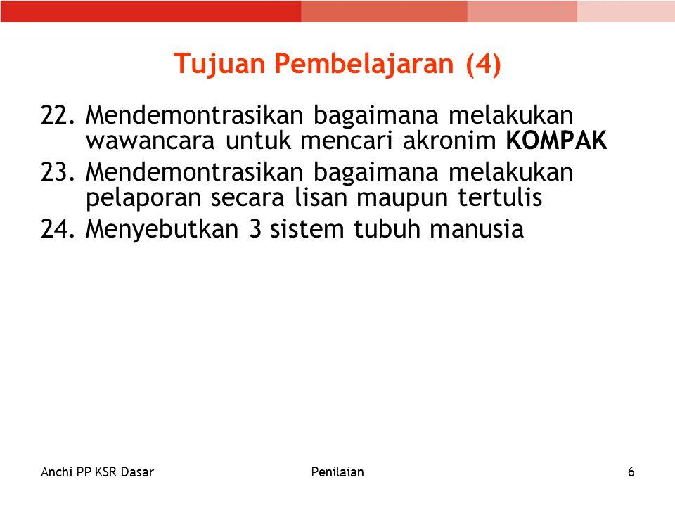 Anchi PP KSR DasarPenilaian6 Tujuan Pembelajaran (4) 22.Mendemontrasikan bagaimana melakukan wawancara untuk mencari akronim KOMPAK 23.Mendemontrasika