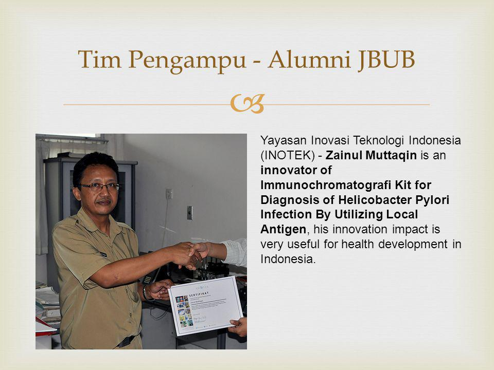  Tim Pengampu - Alumni JBUB Yayasan Inovasi Teknologi Indonesia (INOTEK) - Zainul Muttaqin is an innovator of Immunochromatografi Kit for Diagnosis of Helicobacter Pylori Infection By Utilizing Local Antigen, his innovation impact is very useful for health development in Indonesia.