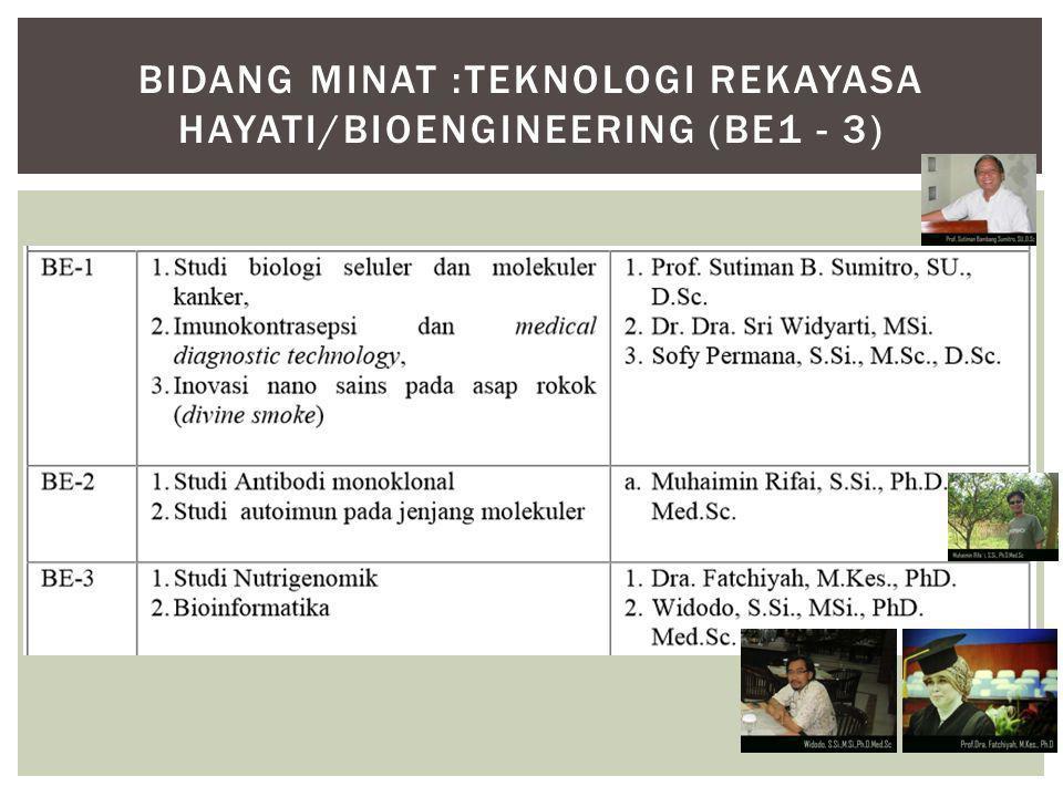 BIDANG MINAT :TEKNOLOGI REKAYASA HAYATI/BIOENGINEERING (BE1 - 3)
