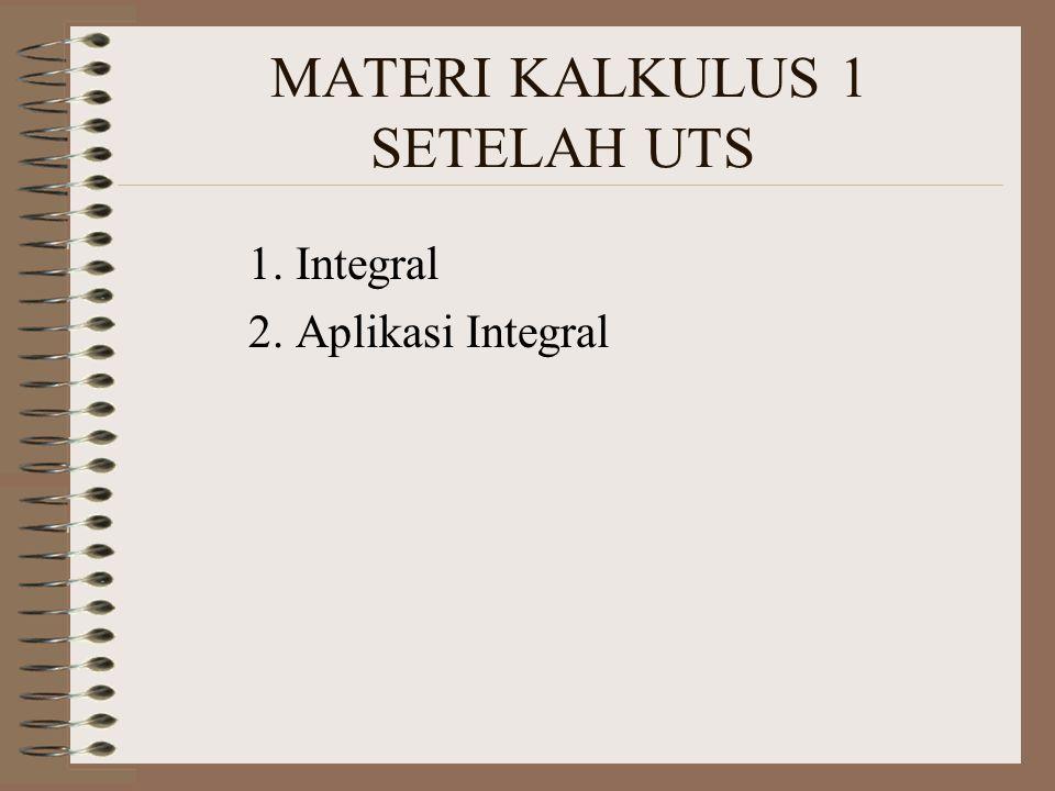 MATERI KALKULUS 1 SETELAH UTS 1. Integral 2. Aplikasi Integral