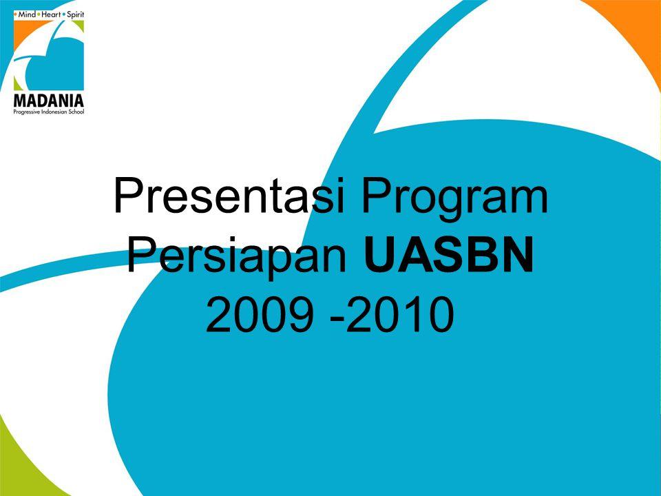 TUJUAN UASBN Menilai pencapaian kompetensi lulusan secara nasional pada mata pelajaran Bahasa Indonesia, Matematika, dan Ilmu Pengetahuan Alam; dan Mendorong tercapainya target wajib belajar pendidikan dasar yang bermutu.