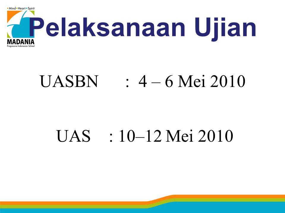 Pelaksanaan Ujian UASBN: 4 – 6 Mei 2010 UAS: 10–12 Mei 2010