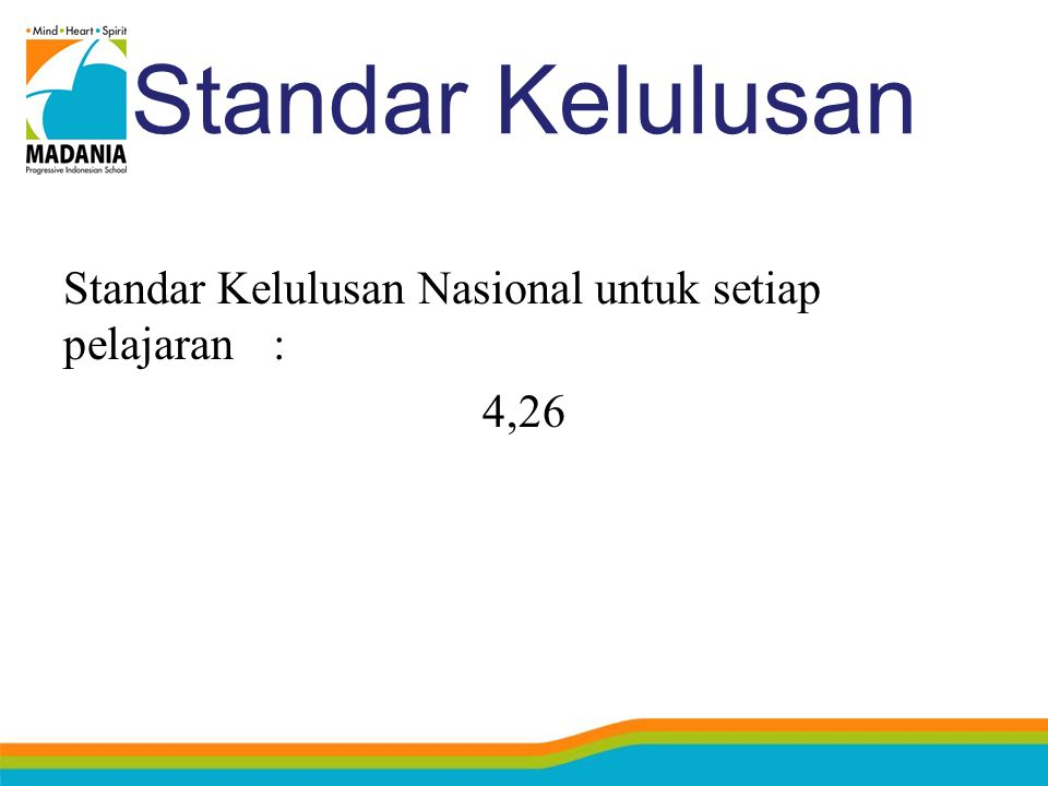 Standar Kelulusan Standar Kelulusan Nasional untuk setiap pelajaran: 4,26