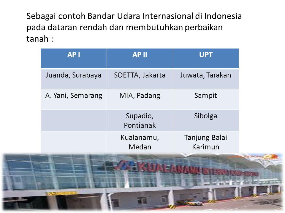 Sebagai contoh Bandar Udara Internasional di Indonesia pada dataran rendah dan membutuhkan perbaikan tanah : AP IAP IIUPT Juanda, SurabayaSOETTA, Jaka