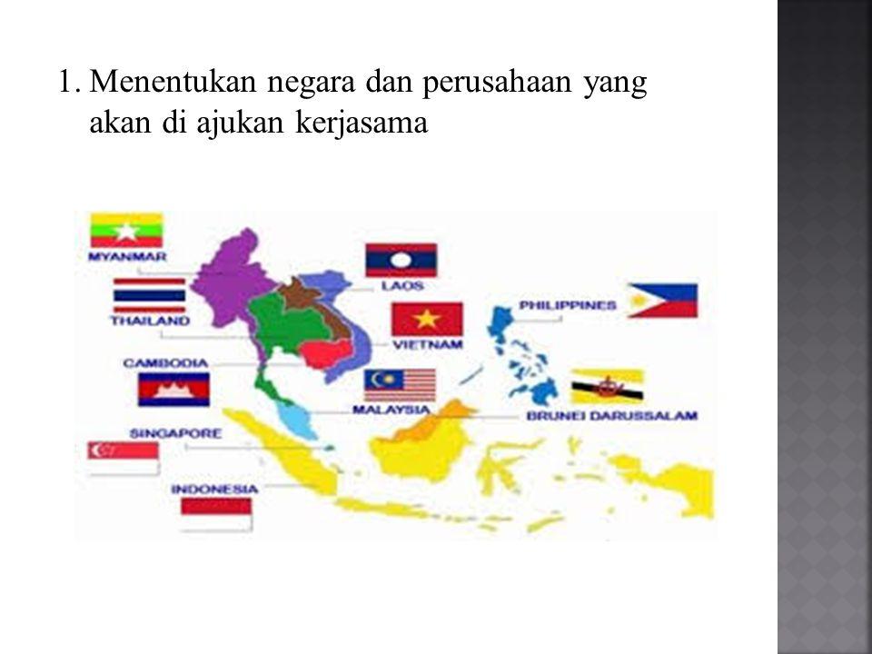1.Menentukan negara dan perusahaan yang akan di ajukan kerjasama