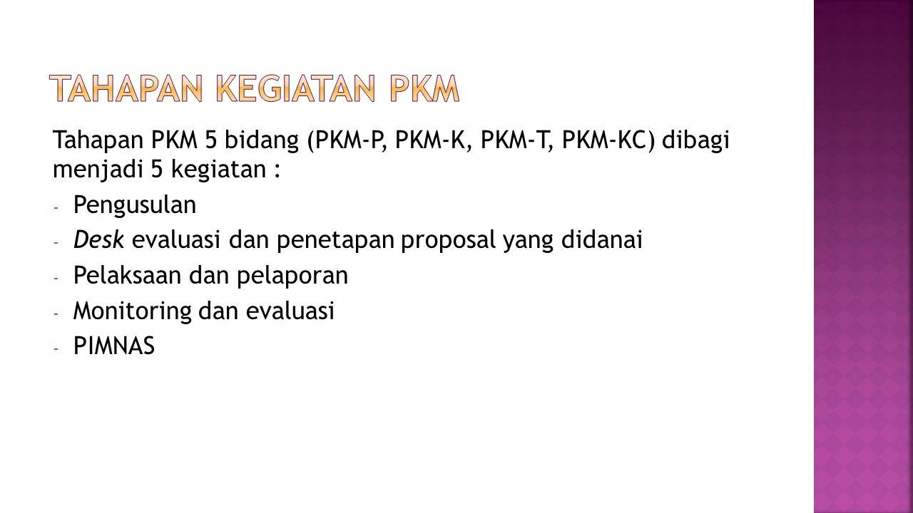 Tahapan PKM 5 bidang (PKM-P, PKM-K, PKM-T, PKM-KC) dibagi menjadi 5 kegiatan : - Pengusulan - Desk evaluasi dan penetapan proposal yang didanai - Pelaksaan dan pelaporan - Monitoring dan evaluasi - PIMNAS