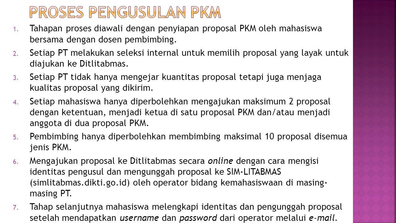 1. Tahapan proses diawali dengan penyiapan proposal PKM oleh mahasiswa bersama dengan dosen pembimbing. 2. Setiap PT melakukan seleksi internal untuk